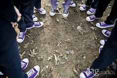 Groomsmen wearing converse! - unique and cute! - Neil will love these! Black And White Converse, Purple Converse, Purple Sneakers, Purple Groomsmen, Greenhouse Wedding, Cute Wedding Ideas, Wedding Pictures, Wedding Stuff, Purple Wedding