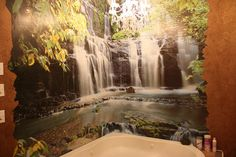 Waterfall mural and bathroom getaway!