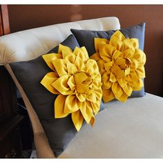 Decorative Pillows Set of 2 Mustard Yellow Dahlias on Charcoal Grey... (£51) ❤ liked on Polyvore featuring home, home decor, throw pillows, dark olive, decorative pillows, home & living, home décor, mustard yellow throw pillows, mustard throw pillow and round accent pillows