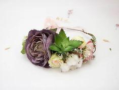 Succulent Hair Piece Woodland Wedding Crown Flower Halo | Etsy