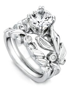 Flora Engagement Ring and Wedding Band - Mark Schneider Design