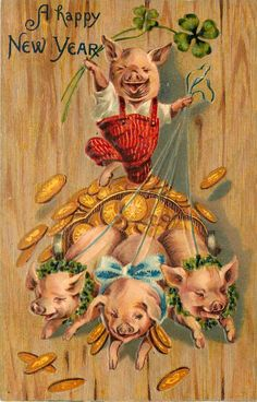 Fantasy Dressed Pig Red Bib Overalls Rides Gold Coins Pulled by Piglets Embossed | eBay