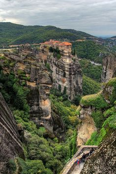 Monastery atop a rock in Meteora, Greece.