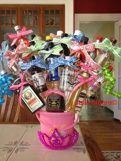 21 Shots for bday 21st Bday Ideas, 21st Birthday Decorations, Birthday Gifts, Birthday Basket, Birthday Ideas, Alcohol Bouquet, Liquor Bouquet, Liquor Gift Baskets, Diy Gift Baskets