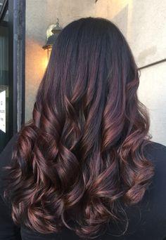 6 Great Balayage Short Hair Looks – Stylish Hairstyles Hair Color Dark, Ombre Hair Color, Hair Color Balayage, Cool Hair Color, Hair Highlights, Red Colour, Auburn Highlights, Burgundy Highlights, Hair Colour