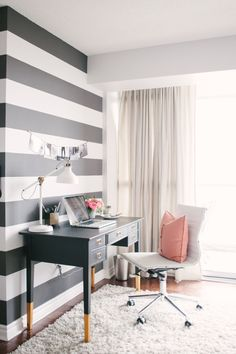 [Home Decor] Bold Striped Office Wall #decor #homedecor #stripes