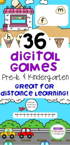 These fun digital learning games are a great addition to your lesson plans for Pre-k or Kindergarten students. They also make great distance learning teacher resources for those learning at home this year. So, if you've been researching how to teach Kindergarten virtually, check out these digital games for Kindergarten or Pre-K that will have early learners practicing important skills without even realizing it! #kindergarten #prek #teacherresources #distancelearning #homeschooling Kindergarten Learning, Preschool Learning Activities, Learning Games, Learning Resources, Teacher Resources, Teaching Kids, Childhood Education, Speech And Language, Lesson Plans
