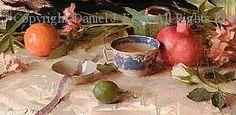 Willow Teacup & Fruit - Oil by Daniel J. Keys