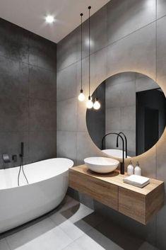 Bathroom Design Luxury, Home Interior Design, Modern Luxury Bathroom, Modern Bathroom Lighting, Industrial Bathroom Lighting, Luxurious Bathrooms, Modern Lighting Design, Contemporary Interior Design, Black Bathroom Taps