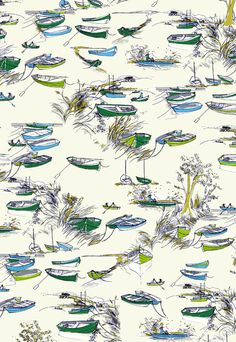 Town Riverbank Boats Buildings 100/% Cotton Patchwork Fabric Inprint