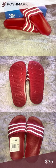 d157456dd23b22 NWT Red and White Adidas Adilette Sandals ‼ B R A N D N E W ‼️red and white  Adidas three