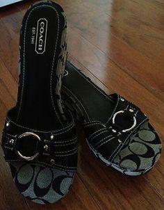 Coach Janeesa Wedge Sandals Heels Sz 10 Sig C Blackgray Euc No