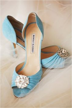 Vintage Manolo Blahnik Sedaraby bejeweled d'Orsay heels in soft blue via @The Perfect Palette