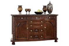 """The North Shore Server from Ashley Furniture HomeStore (AFHS.com). A deep rich stained finish and exquisite details come together to create the ultimate in grand traditional design with the elegance of the """"North Shore"""" dining room collection."""