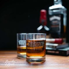 """""""Whiskey has killed more men then bullets, but most men would rather be full of whiskey then bullets."""" Winston Churchill (Whiskey Legend Rocks Glass Sets)"""