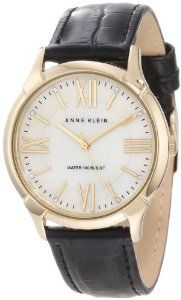 Anne Klein Women's AK/1164INST Gold-Tone Interchangeable Leather Strap Box Set Watch Anne Klein. $95.00. 36 mm round gold-tone case. Water-resistant to 30 M (99 feet). Genuine mother-of-pearl dial with gold-tone Roman III, VI, IX & XII and Swarovski crystal accented index markers at all other hours. Gold-tone hour, minute and second hands. Set of 4 interchangeable genuine leather straps with stainless steel pins; Straps include croco grain black, smooth coral, turquoise...