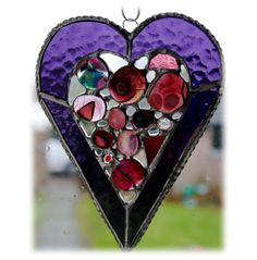 Heart Suncatcher Stained Glass Purple Abstract Fused Love £15.00