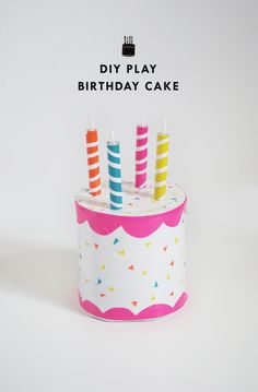 DIY Play Birthday Cake with an oatmeal box and duct tape