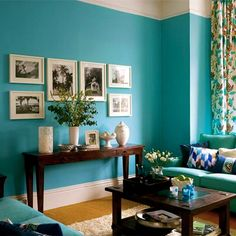 Focal point instead of fireplace??   turqiouse wall paint.. foryer or wall by bag window