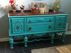 Turquoise Painted Antique Buffet