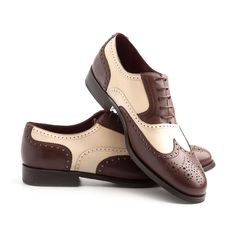 b1dbd956992 Oxfords Holmes bicolor Beige   Brown - Handmade in calf leather in Spain -  Free Home delivery Worldwide by UPS - 1699 -
