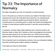 writing tips from tumblr, normalcy