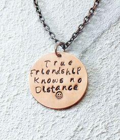 Hand Stamped Brushed Copper Necklace - True Friendship Knows no Distance #Handmade #Statement