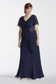 Plus Size Short Long Chiffon Mother of Bride/Groom Dress with Flutter Sleeves...