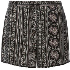 Dorothy Perkins Petite black and pink boho shorts (€19) ❤ liked on Polyvore featuring shorts, petite, rayon shorts, dorothy perkins, petite shorts and boho shorts