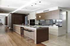 kitchen - timber white and stone