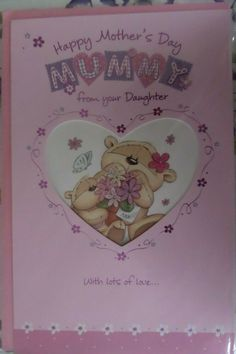 MOTHERS DAY CARD MUMMY FROM YOUR DAUGHTER bear heart fizzy moon design  #FizzyMoon #MothersDay Gifts For Nan, Presents For Her, Paper Gift Bags, Paper Gifts, Happy Mothers Day, Mother Day Gifts, Fizzy Moon, Mum Birthday Gift