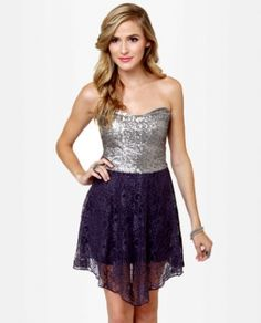 Purple and Silver Sequin Lace Dress. http://www.vudress.com/purple-and-silver-sequin-lace-dress-p-1121.html