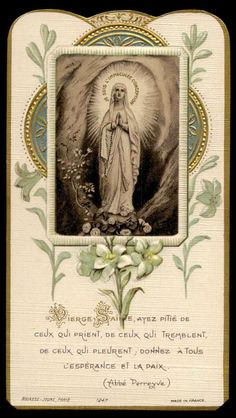 This is a Gold Embossed Italian Holy Card. It has St Bernadette with Our Lady of Lourdes on the front, and on the back it. Vintage Holy Cards, Our Lady Of Lourdes, Holi, Marvel Comics, February, Peace, Holi Celebration