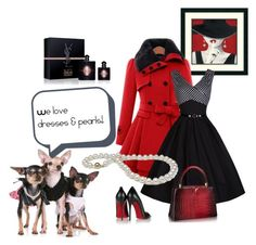 """""""Lov dresses lov pearls!"""" by furryhugs on Polyvore featuring Yves Saint Laurent, Christian Louboutin, women's clothing, women, female, woman, misses, juniors, reddresses and blackoutfit"""