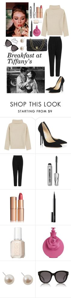 Holly Golightly (Breakfast at Tiffany's) inspired look by mariancoviella on Polyvore featuring Étoile Isabel Marant, Zimmermann, Jimmy Choo, Humble Chic, CÉLINE, Charlotte Tilbury, NARS Cosmetics, Valentino, Essie and Bare Escentuals