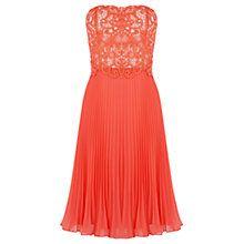 Buy Oasis Lace Bandeau Midi Dress, Coral Online at johnlewis.com