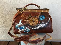 Steampunk leather purse with handwriting Black Leather Briefcase, Leather Backpack, Leather Bag, Leather Handle, Leather Purses, Leather Handbags, Painted Bags, Hand Painted, Gladstone Bag