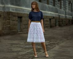 Midi lace white skirt full midi skirt cotton white summer
