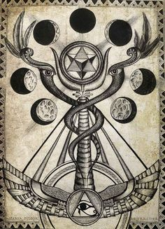 Caduceus of Mercury. Occult art esoteric by AbstractikaArtWork