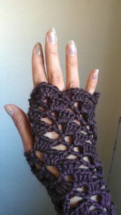 Chocolate Fingerless gloves lacy crochet by LaBohemiaStitcher, $25.00