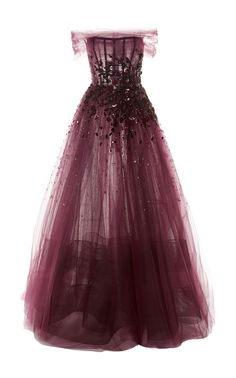 Shop Embellished Off-The-Shoulder Tulle Gown. The thinly draped chiffon gives you a sneak peak at the boned structure of this Pamella Roland gown. Grad Dresses, Ball Dresses, Ball Gowns, Evening Dresses, Pretty Outfits, Pretty Dresses, Beautiful Dresses, Kpop Outfits, Fashion Outfits