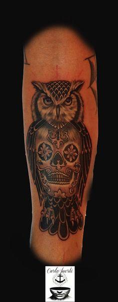 realistic tattoo #owl tattoo #tattoo idea #skull tattoo