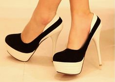 Cream and black platforms.