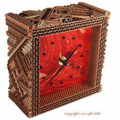 Corrugated Mosaic Desk Clock with Red Marbled by CORRUGATEDmosaic, $98.00