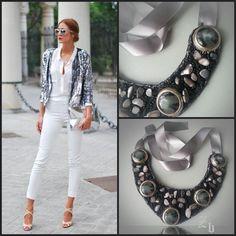Grey and silver z'ett bijou statement necklace