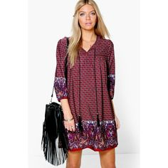 Boohoo Samantha Border Print Tassel Shift Dress ($30) ❤ liked on Polyvore featuring dresses, multi, purple cocktail dress, bodycon cocktail dress, polyester camisole, holiday dresses and evening dresses