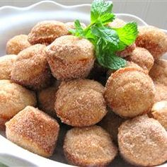 Donut Muffins.  These were super quick and easy, and taste just like donut holes.  All of the kids kept asking for more.  Best fresh, but still great the next day too.