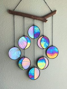 Catchers: A Kids Craft DIY - Sun Catchers. A fun and easy DIY kids craft. A fun and easy DIY kids craft. image 0 Clear and Rainbow Iridized Moon Phase Hanging // Celestial Art Diy Crafts To Sell, Diy Crafts For Kids, Arts And Crafts, Paper Crafts, Craft Kids, Crafty Craft, Cd Diy, Diy Art, Wind Chimes
