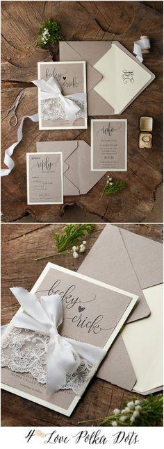 Romantic Lace Boho wedding invitation with lace & ribbon and calligraphy printing #wedding #boho #bohemian #weddingideas #weddings #lace #romantic #subtle