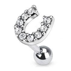 For good luck Cartalige Piercing, Ear Piercings Helix, Cute Piercings, Piercings For Girls, Migraine Piercing, Cute Cartilage Earrings, Cartilage Ring, Women's Earrings, Horse Jewelry